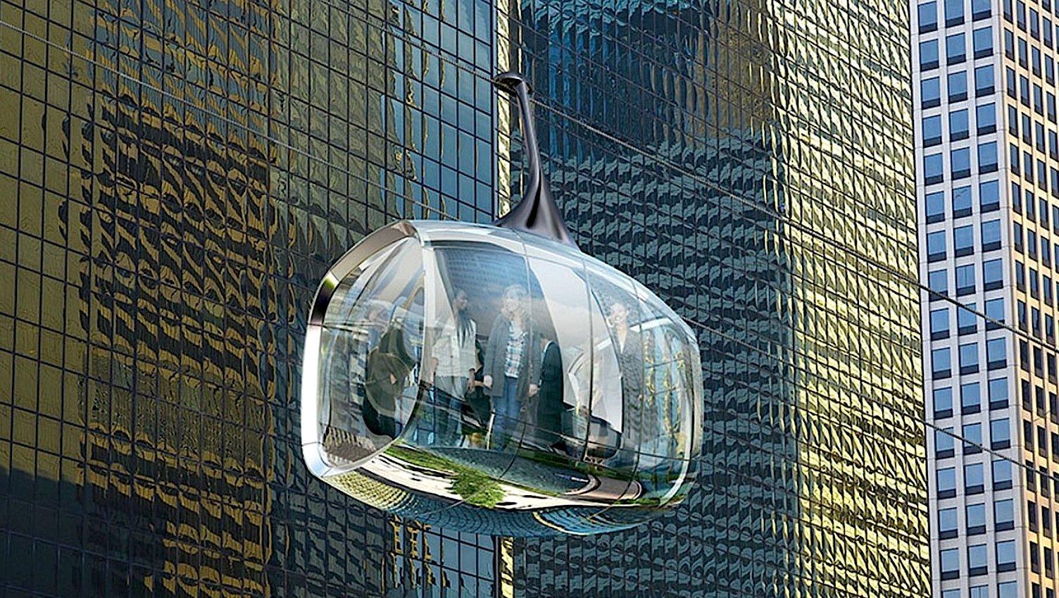 Die futuristischen Gondeln der Seilbahn Chicago sollen transparent sein, damit die Fahrgäste in alle Richtungen hinausschauen können.