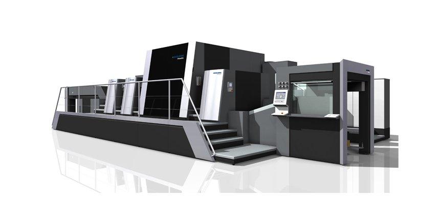 Primefire 106:die erste industrielle Digitaldruckmaschine der Welt. Entwickelt wurde sie von Heidelberger Druckmaschinen und Fujifilm.