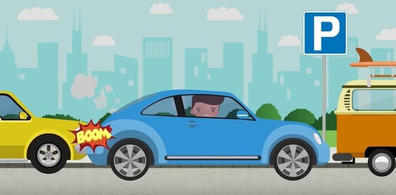 Upps, hier wurde nach Gehör eingeparkt. Künftig können ältere Fahrzeuge mit dem elektronischen Parkassistenten von FenSens nachgerüstet werden. Dabei wird das Smartphone als Display genutzt.
