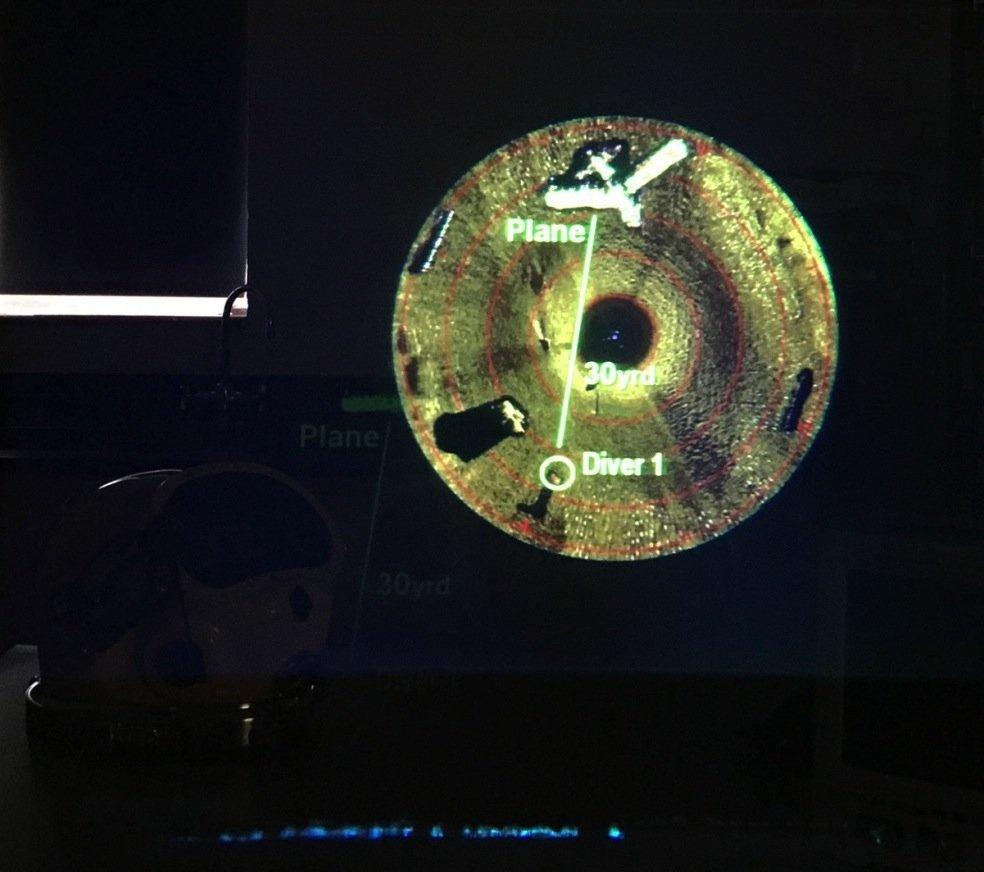 Das Display im Taucherhelm mit Informationen der Sonarsysteme.