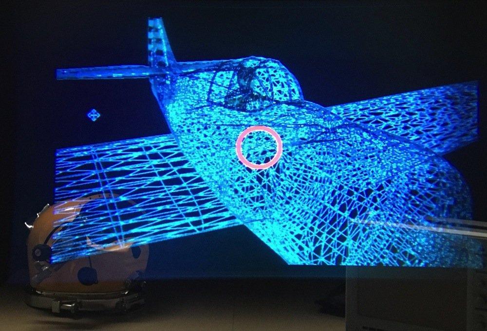 Laborsimulation: So würde der Taucher auf seinem Display im Helm, ein auf dem Meeresboden liegendes Flugzeug angezeigt bekommen.
