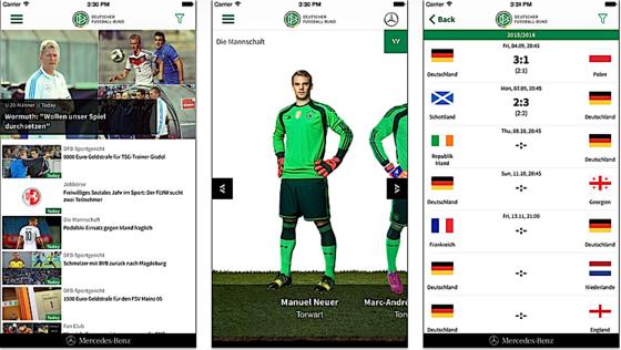 Bei der DFB-App steht natürlich die deutsche Nationalmannschaft im Mittelpunkt.