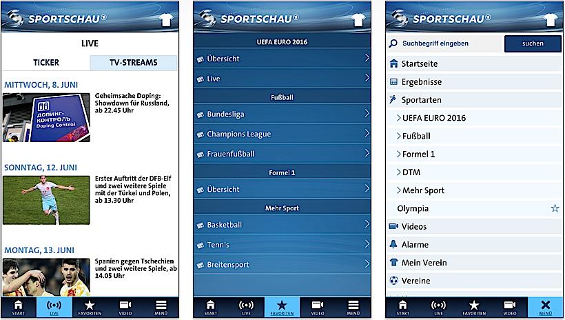 Die großen TV-Sender bieten natürlich auch Live-Berichterstattung und Live-Streams an. Im Bild die Sportschau-App.