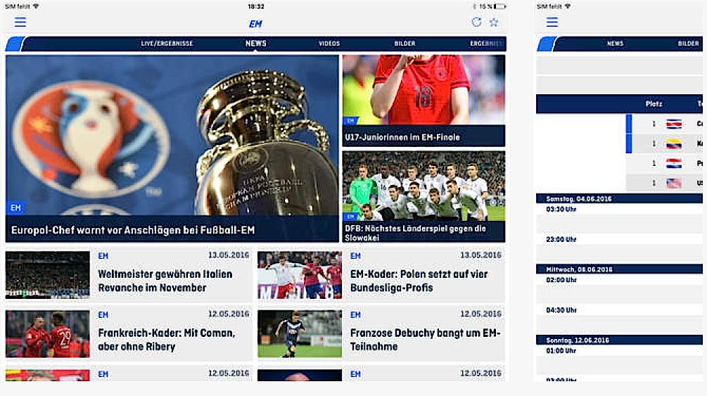 Auch der Privatsender Sat1 bietet mit der ran-App einen Live-Stream an.