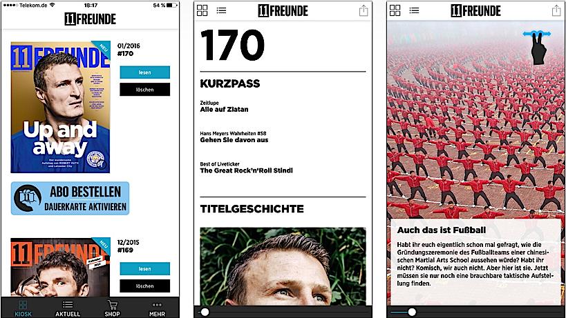 Das Fußball-Magazin 11Freunde ist mit einer App dabei, die sogar über einen Vokuhila-Frisör verfügt.