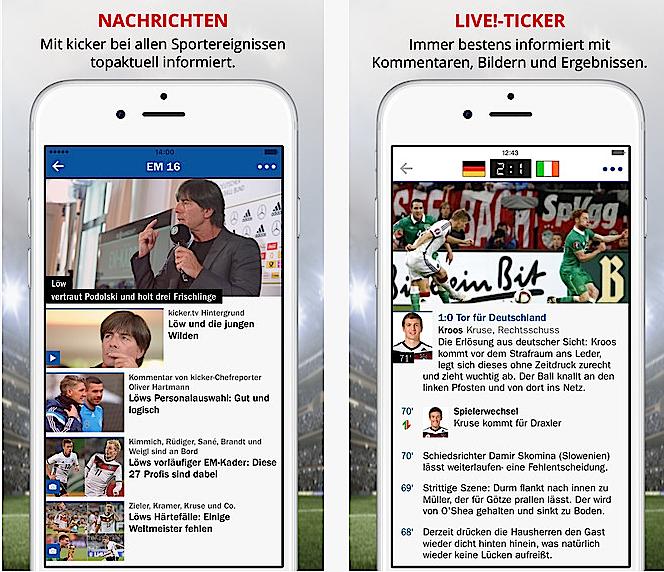 Kicker hat gleich eine ganze Reihe Apps zur EM im Programm, auch ein Tippspiel, bei dem man in Gruppen die Spiele der EM tippen kann.