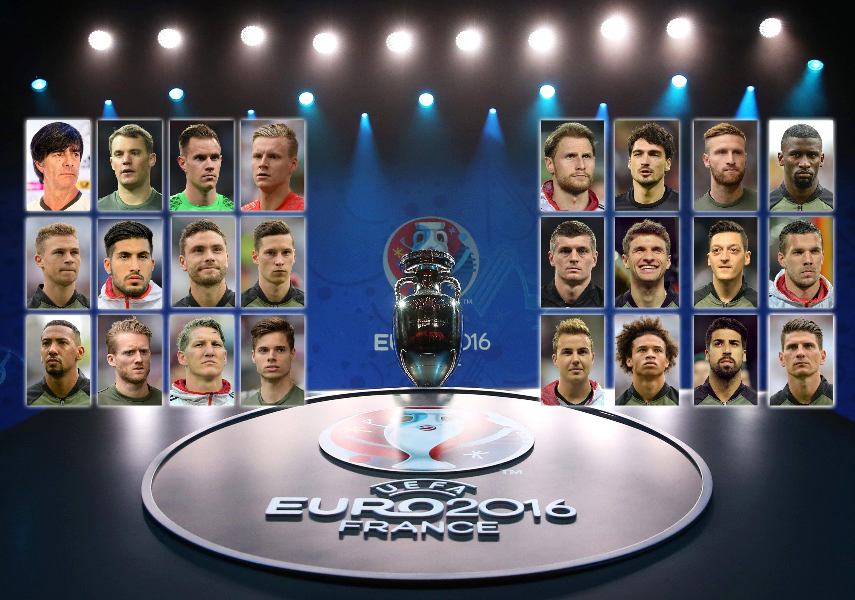 DerEM-KaderDeutschlands für die Fußball-Europameisterschaft 2016 in Frankreich: Social-Media-Europameister sind die Jungs schon jetzt – allen voran Mesut Özil.