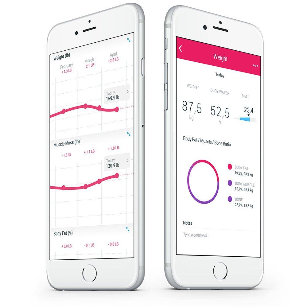 Jedes Wiegen erscheint automatisch in der Health Mate App, über WLAN- oder Bluetooth-Synchronisierung.