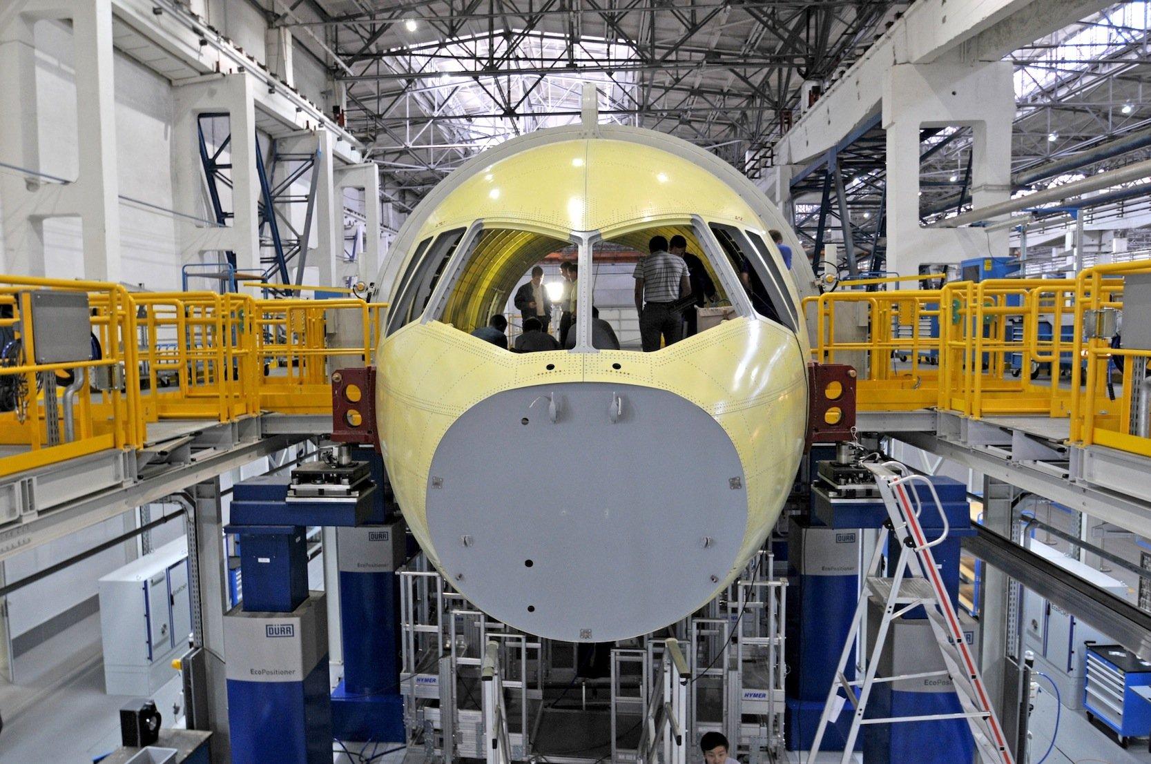 Montage einer MS-21 im sibirischen Irkutsk: Die Serienfertigung soll im nächsten Jahr anlaufen.
