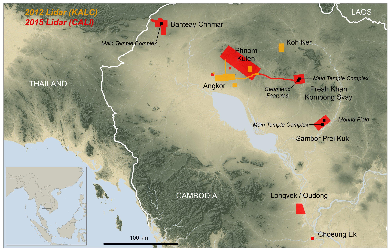 Mit Lasertechnik wurden bislang unbekannte Siedlungen und Tempel in der Nähe der Tempelanlage Angkor Wat in Kambodscha entdeckt. Die Anlagen wurden per Lasertechnologie Lidar im Jahr 2012 (gelb) und 2015 (rot) vermessen.