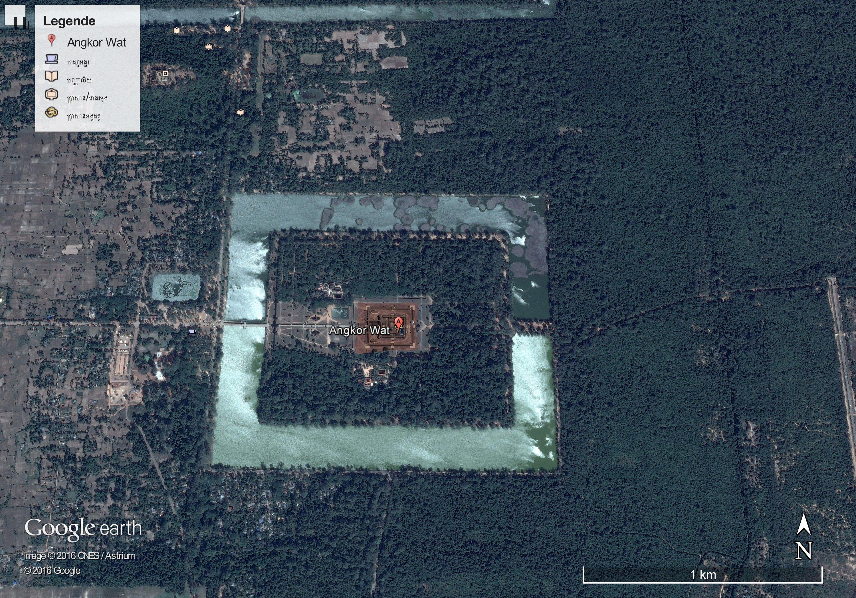 Die Aufnahme von Google Earth zeigt Angkor Wat in Kambodscha, die größte Tempelanlage der Welt. Ein Archäologenteam um Damian Evans von der Universität Sydney hat riesige mittelalterliche Siedlungen und Tempelanlagen in der Nähe von Angkor Wat entdeckt.