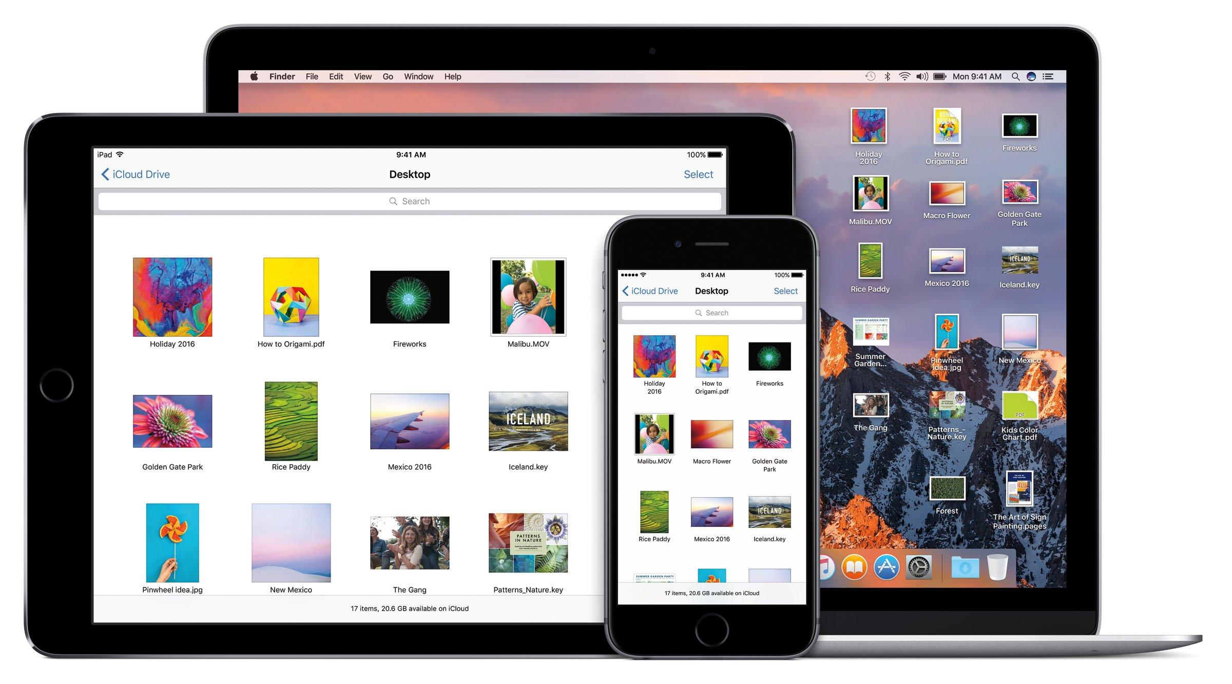 Mit Einführung des neuen Betriebssystems Mac OS Sierra für Desktop-Computer kann man auch mit mobilen Endgeräten auf Dokumente zugreifen, die auf dem Desktop eines Macs liegen.