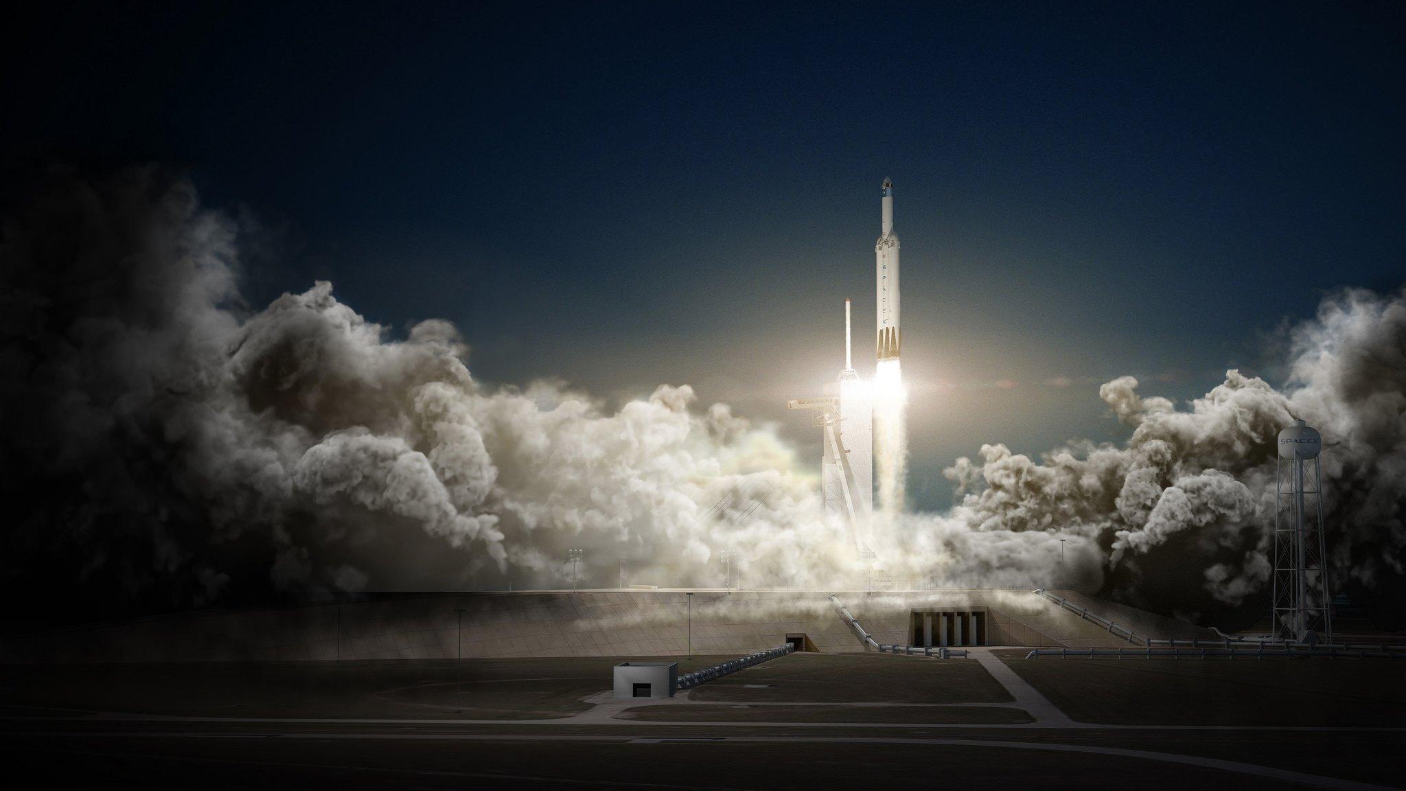 """Die Dragon-Kapseln will Musk mit Hilfe der bärenstarken""""Falcon Heavy""""-Rakete einsetzen, eine Weiterentwicklung der Falcon 9."""