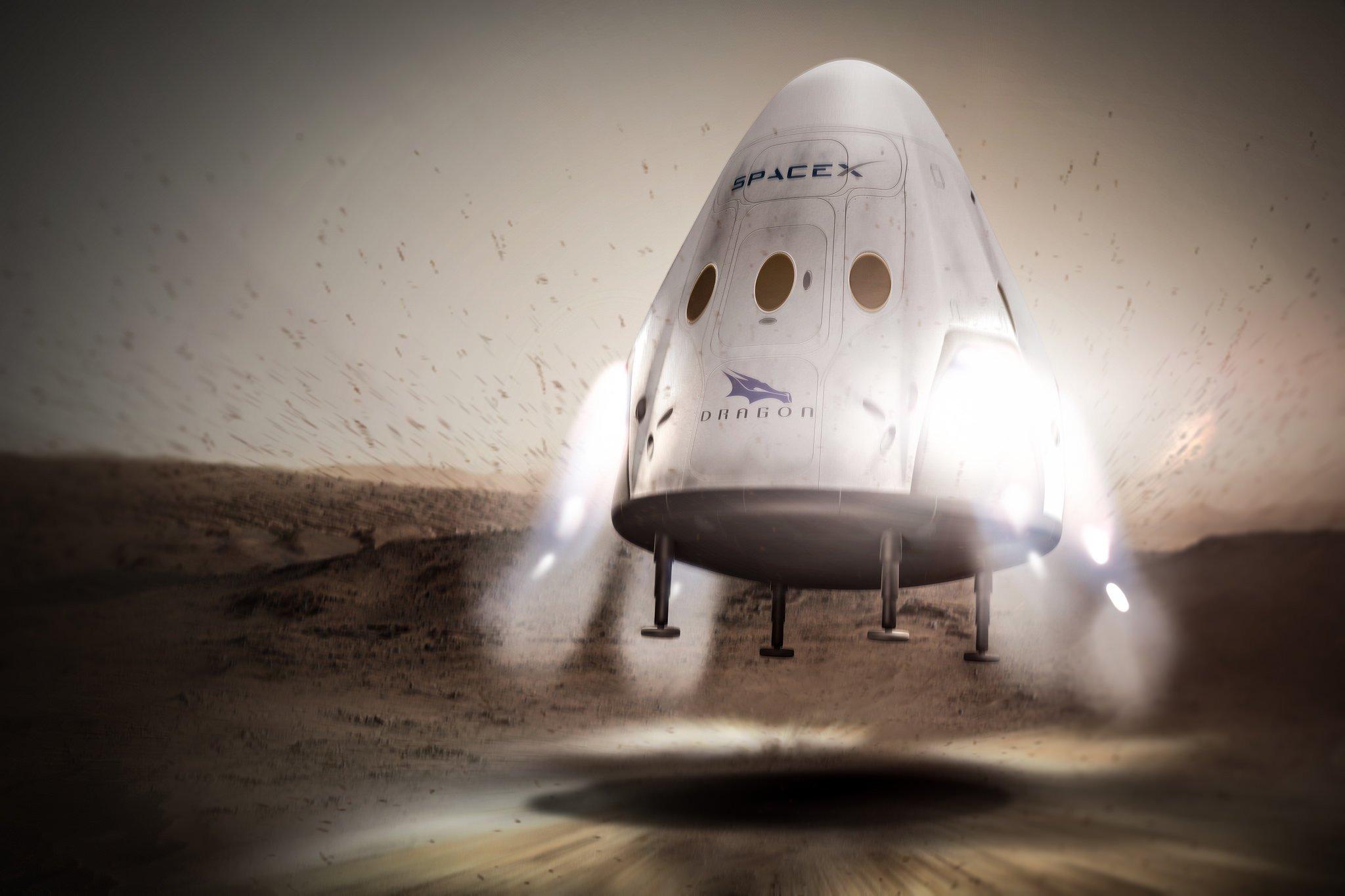 Die Dragon-Kapsel soll bei der Landung auf dem Mars nicht durch Fallschirme abgebremst werden, sondern durch Rückstoß von Triebwerken.