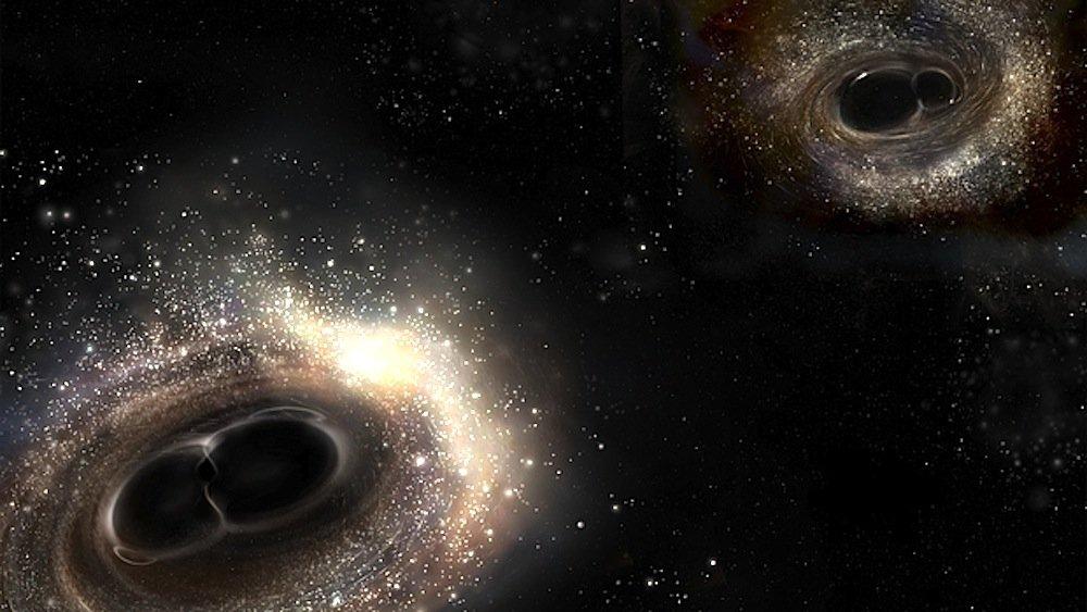Künstlerische Darstellung Schwarzer Löcher: Rechts sinddie beiden schwarzen Löcher von 8 und 14 Sonnenmassen abgebildet, die vor etwa 1,5 Milliarden Jahren ineinander gekracht sind. Die aus diesem Ereignis resultierenden Gravitationswellen konnten jetzt nachgewiesenwerden. Rechts ist ein schwarzes Loch so schwer wie 29 Sonnen zu sehen, dass mit einem anderen schwarzen Loch mit 36-facher Sonnenmasse kollidiert. Dabei wurde die Energie von drei Sonnenmassen in Form von Gravitationswellen abgestrahlt. Diese konnten nachgewiesen werden: Erstmals wurde damit Einsteins Relativitätstheorie in der Praxis bestätigt.