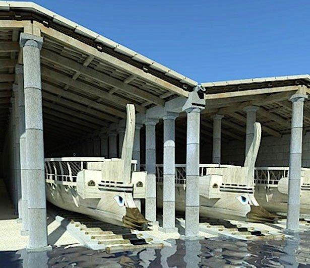 3D-Rekonstruktion der doppelten Werfthallen in Zea Harbour.