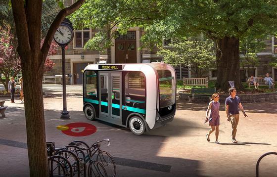 Der Kleinbus Olli fährt gerade testweise in den USA. Er bietet zwölf Fahrgästen Platz und fährt autonom.