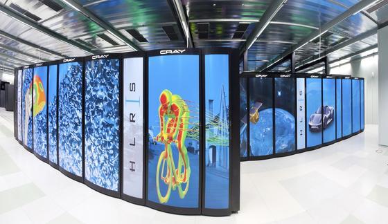 Der schnellste Supercomputer Deutschlands ist derHazel Hen im Höchstleistungsrechenzentrum Stuttgart (HLRS). Er steht international auf Rang 9.