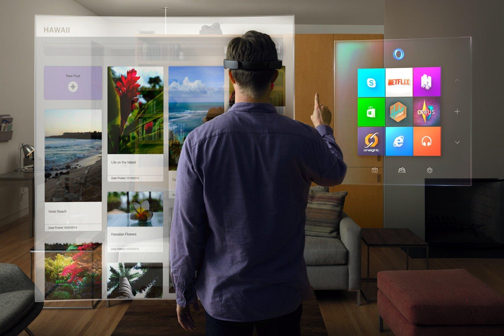 Die HoloLens ist ein vollständiger Computer mit Internetanbindung. Einzelne Menüs können in einem Raum frei platziert werden, so wie auf dem Desktop eines Computers. Sichtbar sind die Fenster aber nur, wenn man sie anschaut.