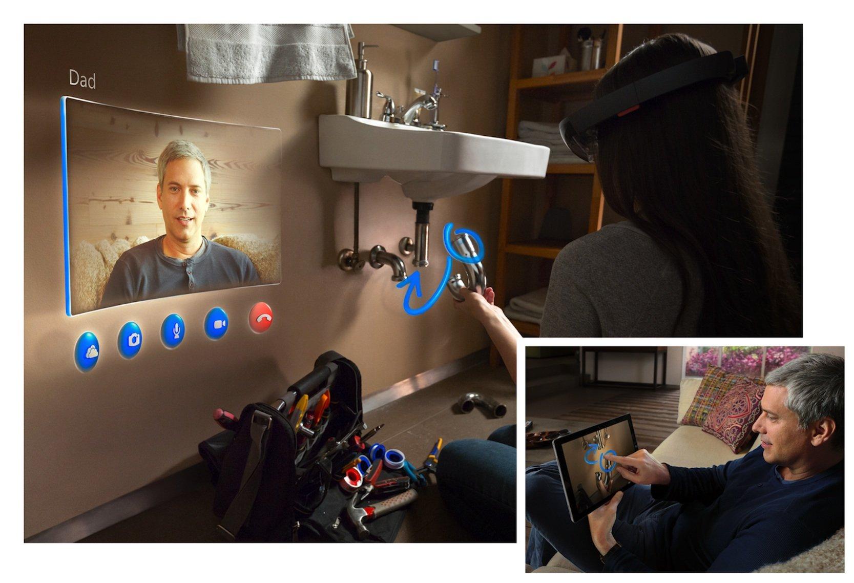 Nutzen mehrere Menschen eine HoloLens, kann ein entfernter Experte nicht nur Tipps zur Lösung eines Problems geben, sondern auch ins Blickfeld des Partners zeichnen oder Informationen einblenden. In diesem Fall hilft ein Vater seiner Tochter bei der Montage eines Siphons.