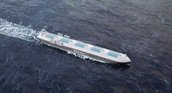 Illustration des autonomen Containerschiffs von Rolls-Royce. Bereits 2020 soll es über die Weltmeere fahren.