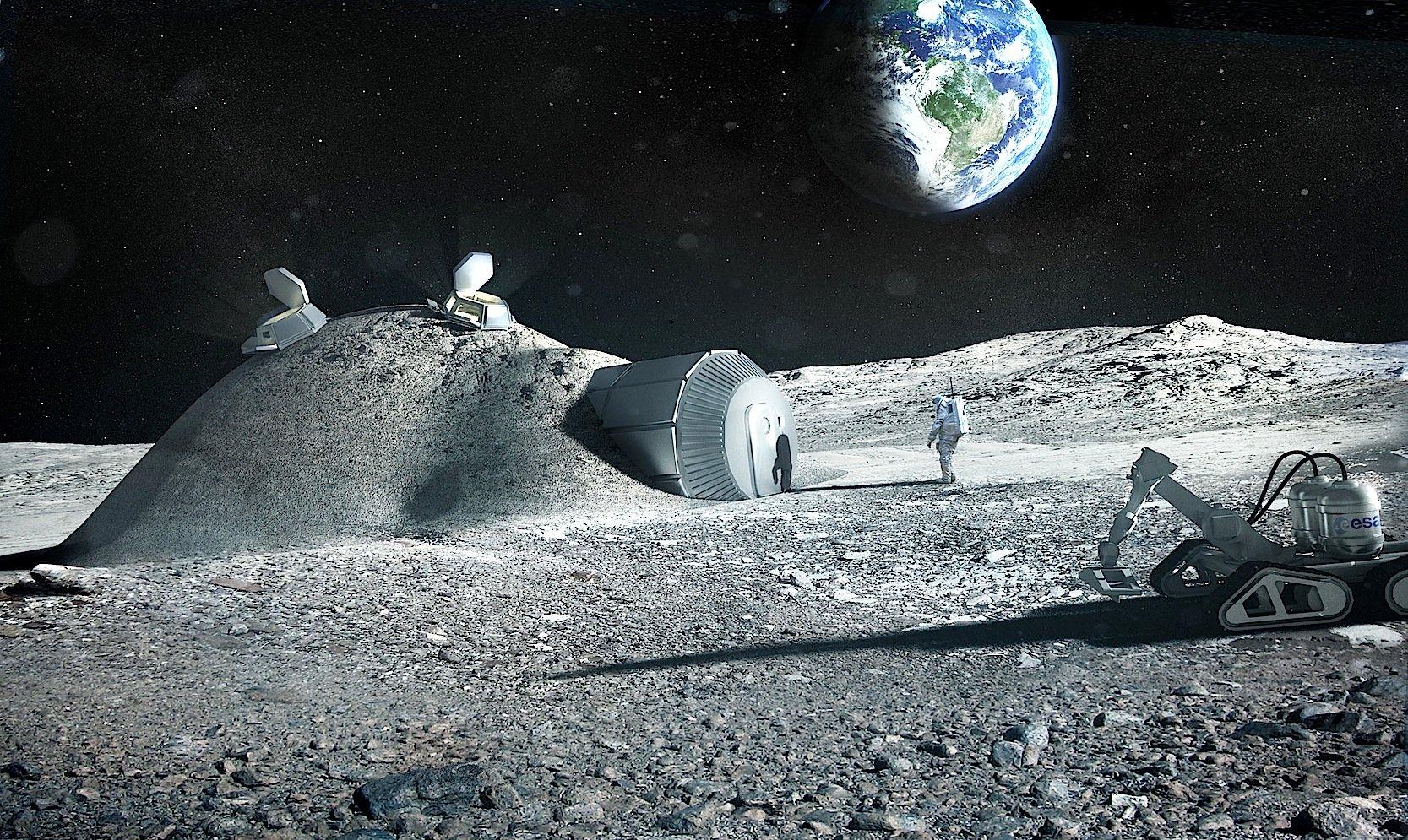 So stellen sich die ESA und das Architekturbüro Foster + Partners eine mögliche Raumstation auf dem Mond vor. Sie soll mithilfe von 3D-Druckverfahren entstehen.