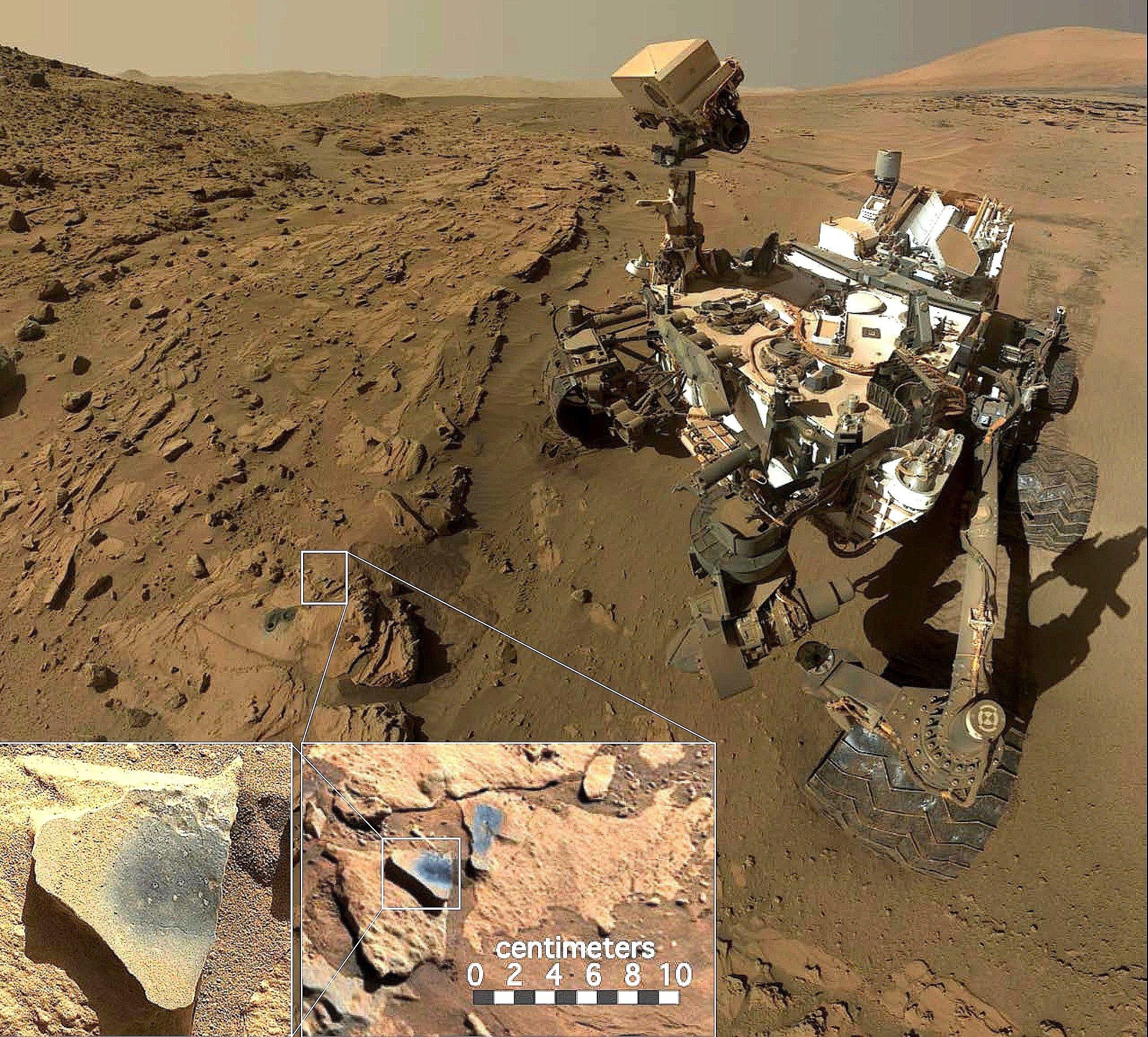 In der Region namens Windjana im Gale-Krater auf dem Mars entdeckte der Rover Curiosity Manganoxid im Gestein.