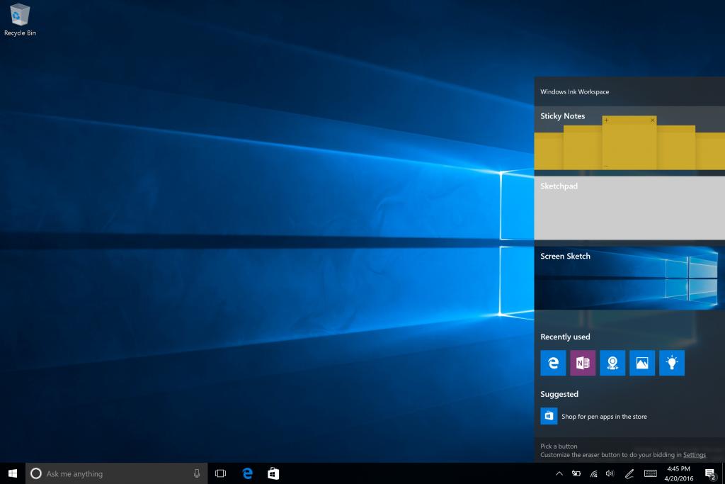Über ein Pen-Icon öffnet der User den Windows-Ink–Arbeitsbereich.
