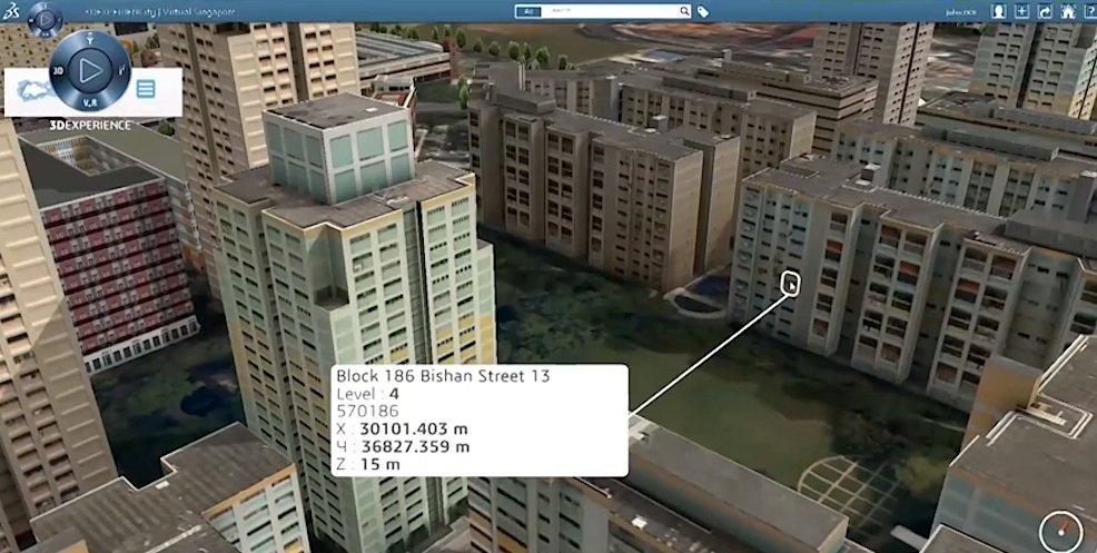 Ein Klick aufs Gebäude und schon werden im virtuellen Singapur alle Informationen preisgegeben.