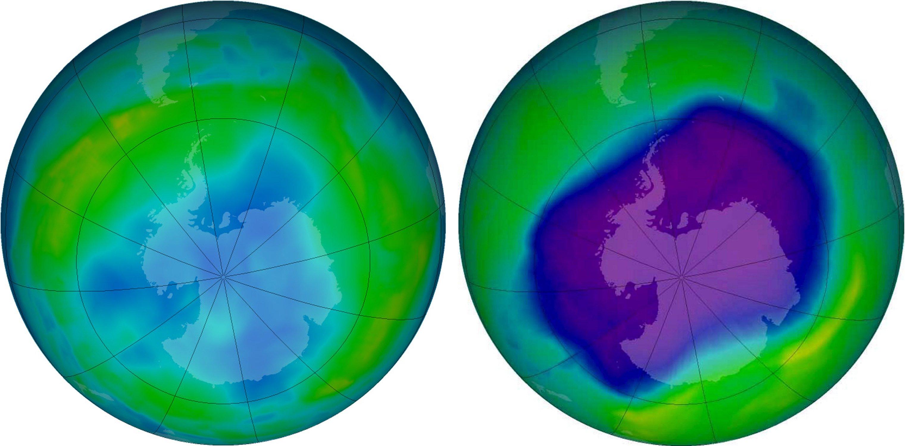 Das Ozonloch über der Antarktis am 24. September 2006 (re.) und am 9. Juni 2013 auf einerComputergrafik. Die blauen und violetten Farben zeigen an, dass die Ozonschicht dünn ist, die gelben, grünen und roten weisen auf mehr Ozon hin.