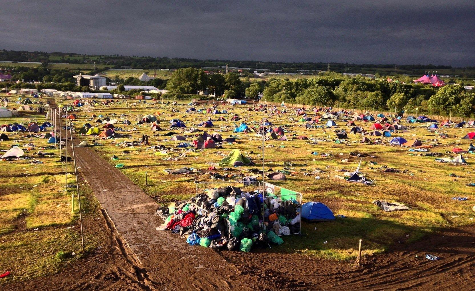 Auf vielen Festivals wie hier in Großbritannien bleiben oft Tausende Zelte zurück.
