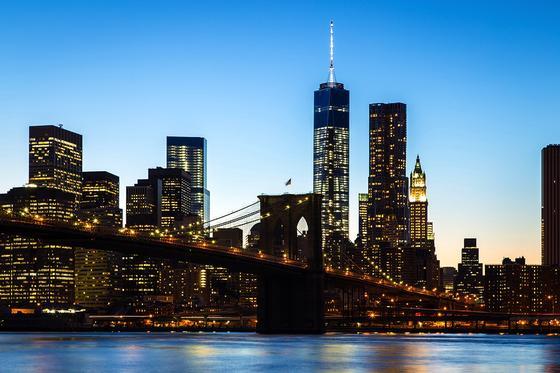 Blick auf das neue World Trade Center in New York, im Vordergrund die berühmte Brooklyn Bridge: Forscher aus Cambridge entwickeln gerade neue Baustoffe für die Stadt der Zukunft, die nach dem Vorbild von Knochen und Eiern aufgebaut sind.