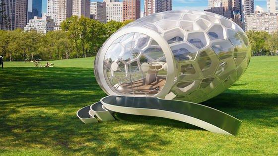 Die eiförmige Kapsel namens GreenPod kann überall aufgestellt und als Hightech-Büro für zwischendurch genutzt werden.<strong></strong>