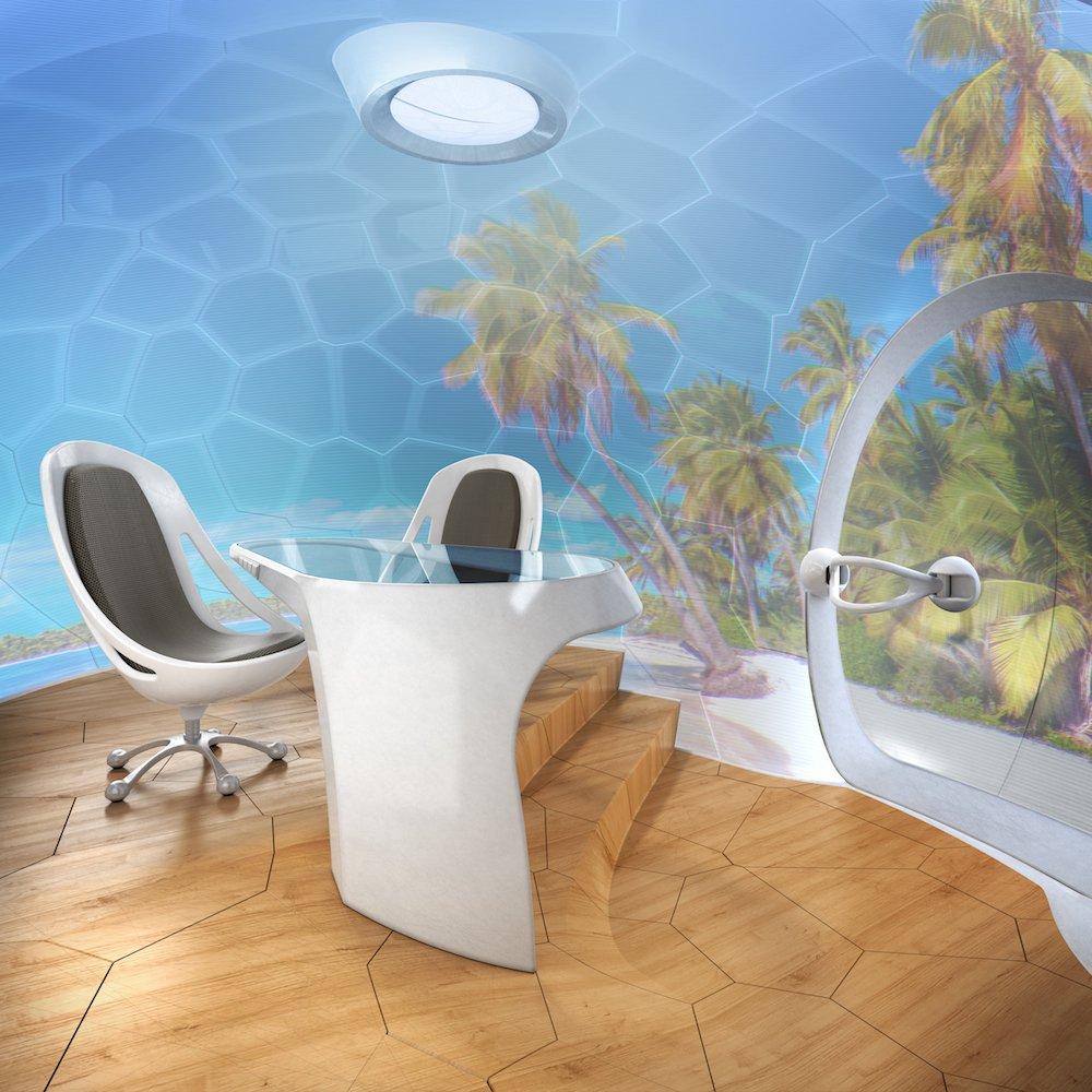 Der GreenPod von innen: Die Wände sind Rundum-Touchscreens, auf denen man auch Videos sehen oder verschiedene Hintergründe wählen kann.
