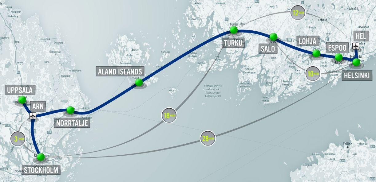 Die geplante Hyperloop-Verbindung soll von Helsinki über Marienhamn auf den Åland-Inseln bis nach Stockholm reichen.
