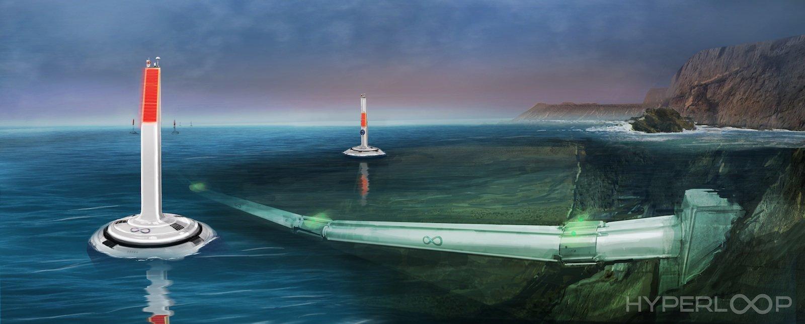 So stellt Hyperloop One die Unterwasser-Verbindungen dar.