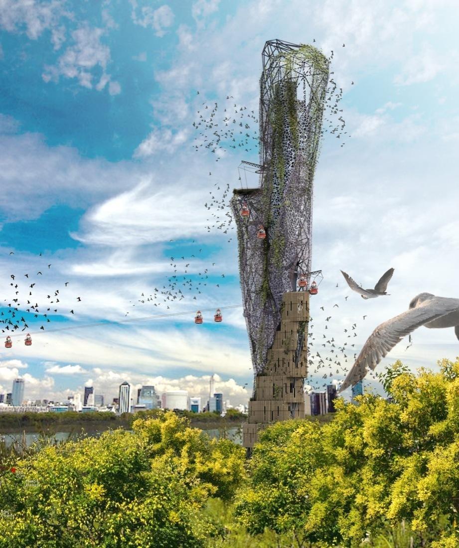 Eco-Cliff: Die Öko-Klippe aus Netzen, Kabeln und Plattformen dient auch Zugvögeln als Refugium und Nistplatz.