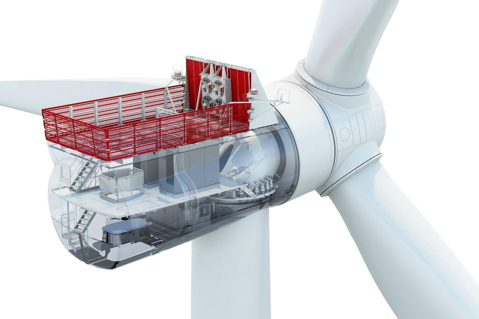 Transparente Darstellung der 7- und 8-MW-Offshore-Anlage von Siemens: Das Maschinenhaus erstreckt sich über zwei Etagen.