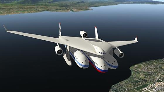 Illustration des Flugzeugs Clip Air: Es kann drei Kapsel transportieren, die jeweils 30 m lang und 30 t schwer sind.