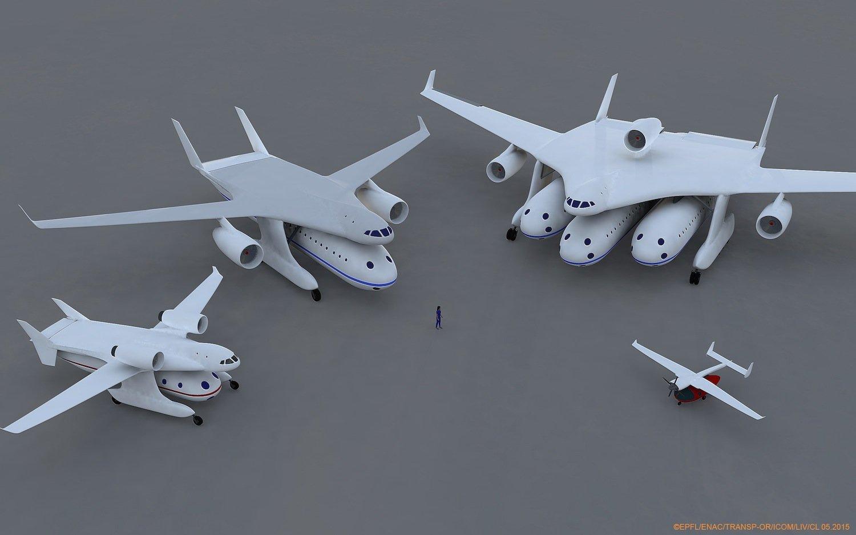 Verschiedene Ausbaustufen des Clip-Air-Flugzeugs. Von der kleinen Propellermaschine bis zum Nurflügler mit drei Turbinen ist alles vorstellbar.