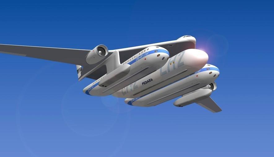 Reisen der Zukunft: Flugzeug hebt Zugwaggons in die Luft