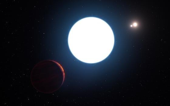Der Exoplanet HD 131399Ab links unten im Bild umkreist gleich drei Sonnen. Er befindet sich320 Lichtjahre von der Erde entfernt im Sternbild Zentaur.