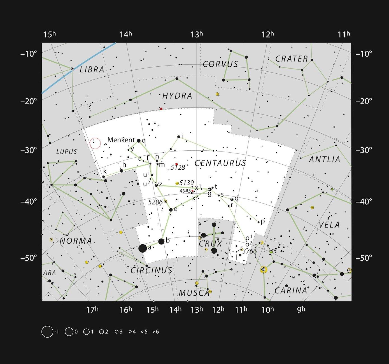 Diese Karte zeigt die Position des Dreifachsterns HD 131399 im großen südlichen Sternbild Zentaur(lat. Centaurus). Dieser Stern, dessen hellste Komponente von dem einzigartigen Planeten HD 131399Ab umkreist wird, ist zu lichtschwach, um mit dem bloßen Auge gesehen zu werden, kann jedoch mit dem Fernglas beobachtet werden.