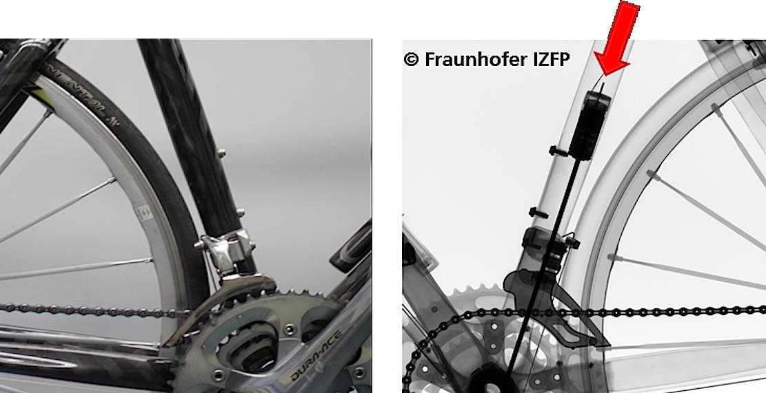 Das Röntgenbild bringt es an den Tag: Im Rahmen des Rennrads steckt ein Elektromotor. So sieht technisches Doping aus.