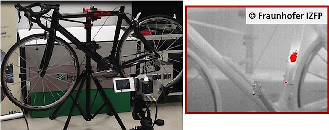 Thermographische Untersuchung eines Rennrades mit verstecktem Elektromotor: Die Infrarotaufnahme rechts zeigt den versteckt im Sattelrohr eingebauten Motor.
