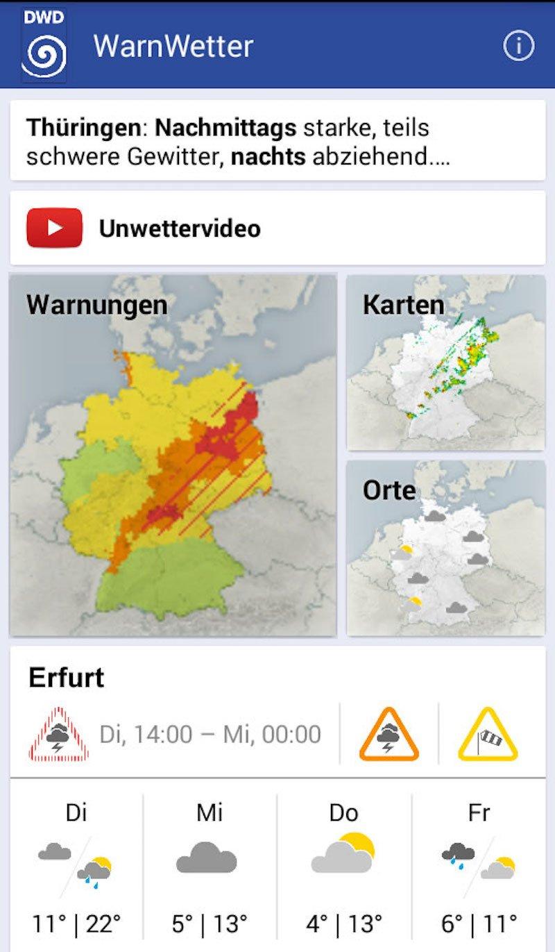 Smartphone-App des DWD: Ab August soll sie vor Unwettern in einzelnen Stadtteilen warnen können.