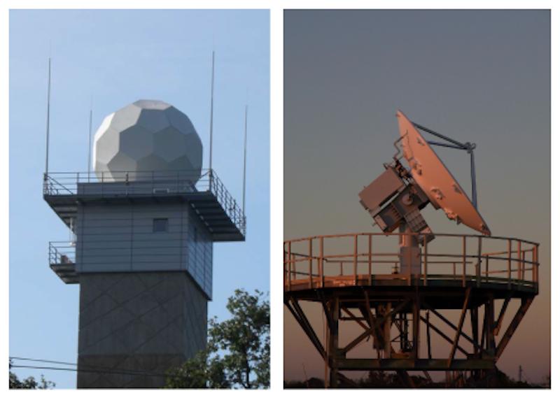 Links:Wetterradarsystem Offenthal auf seinem circa 45 m hohen Betonturm. Das eigentliche Radarsystem ist durch die weiße Radarkuppel vor Witterungseinflüssen geschützt. Rechts:Ein Wetterradarsystem ohne schützende Radarkuppel.