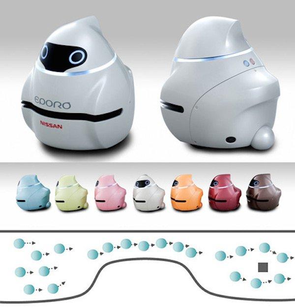 Augen wie Hummeln und kolonnentauglich: die kleinen Roboterautos Eporo von Nissan.