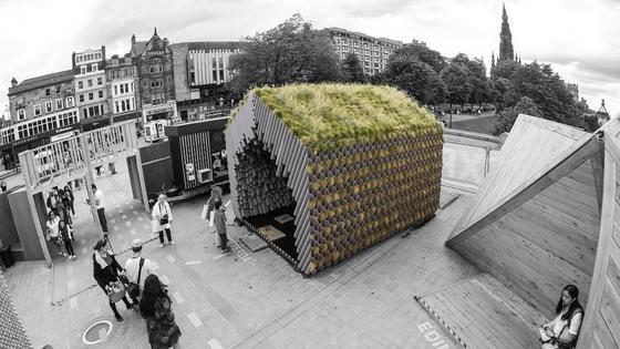Rotterdamwatershed: Dieser Pavillon besteht aus 2.400 Regenrohren und sammelt Wasser.