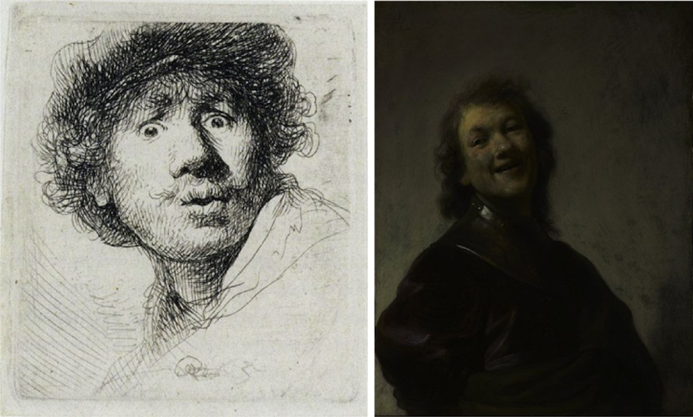 Beispiele für kleine Radierungen und Gemälde: Rembrandt mit weit geöffneten Augen (1630.) und lachend (1628).